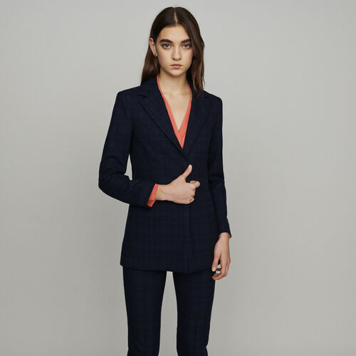 Jacket with check print : Blazers color Navy