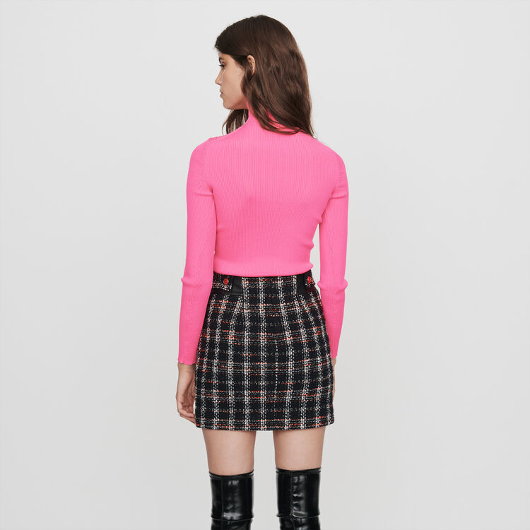 Light ribbed turtleneck sweater : Pullovers & Cardigans color Fluorescent Pink