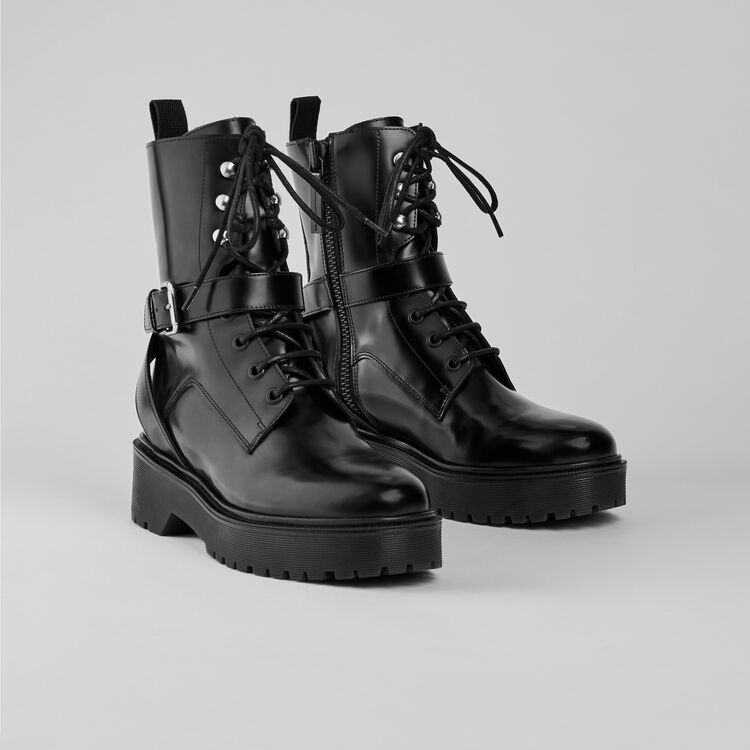 Glazed leather wedge booties : Booties & Boots color Black