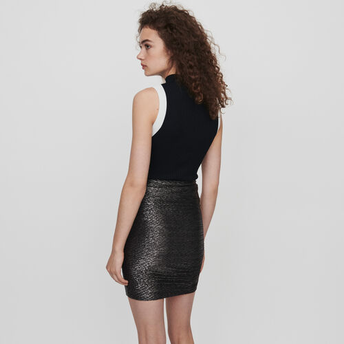 Lurex draped skirt with ruffles : Winter collection color Silver