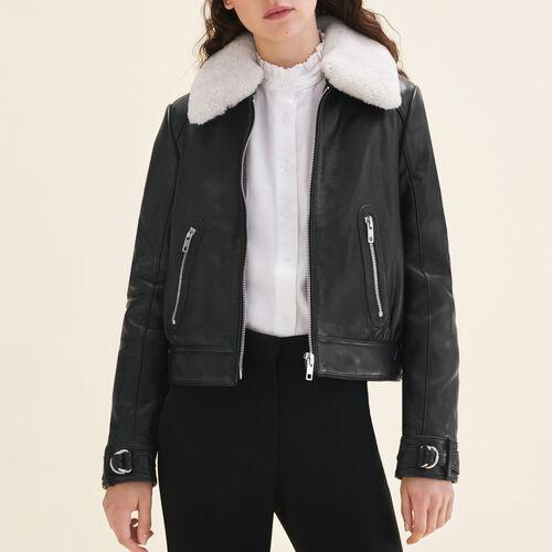 Sheepskin collar aviator jacket : Jackets & Blazers color Black 210