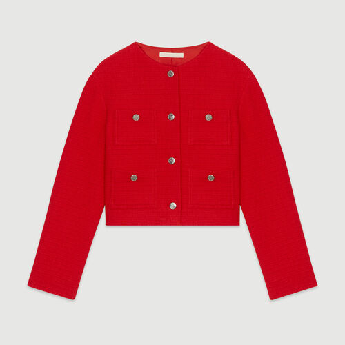 Cropped tweed jacket : Blazers color Red