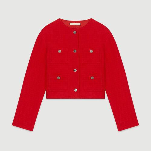 Cropped tweed jacket : Blazers color Red
