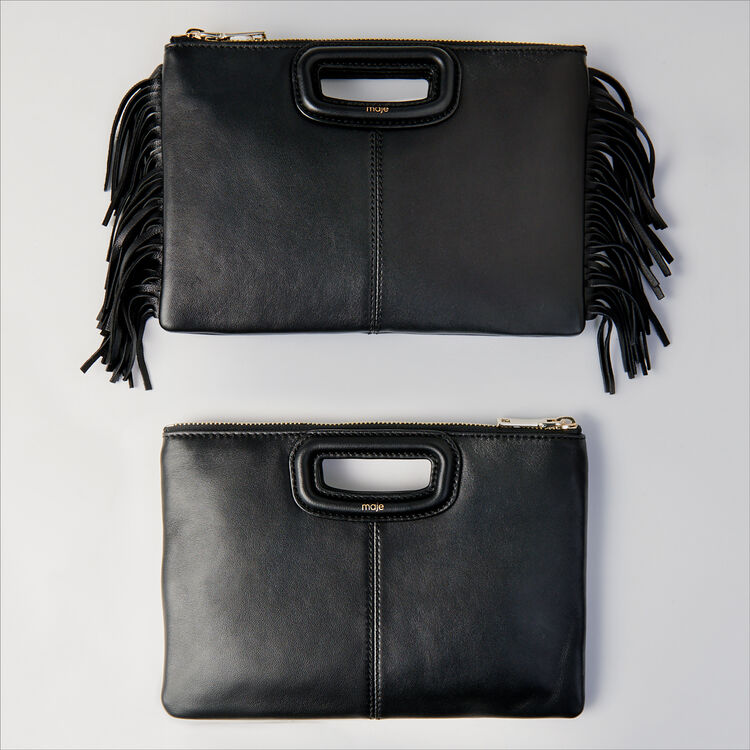 Crocodile embossed-leather M Duo clutch : M Duo color Black