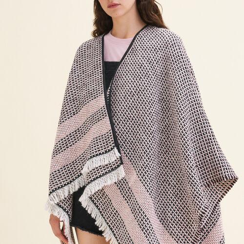 Decorative two-tone knit poncho : Accessoires color Pink