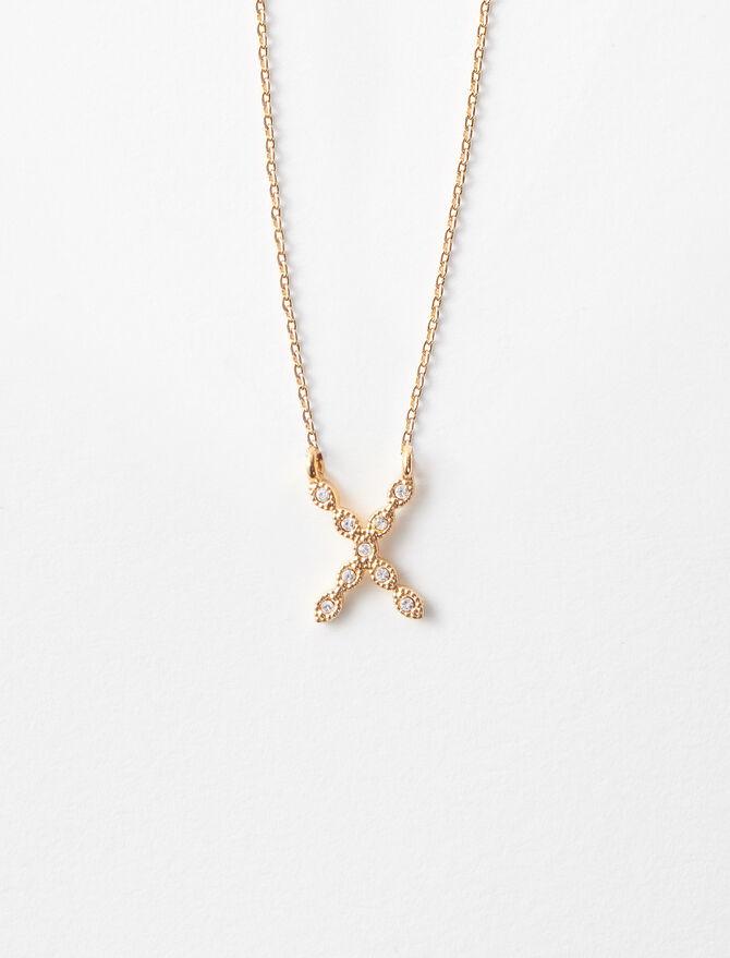 Collier X  Strassé - medailles lettres - MAJE