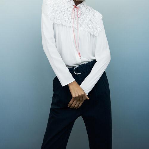 Crepe and lace blouse : Shirts color Ecru