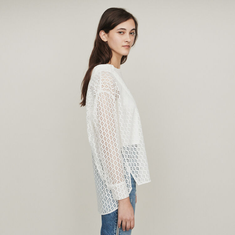 Trompe l'oeil shirt in geometric guipure : Tops & Shirts color White
