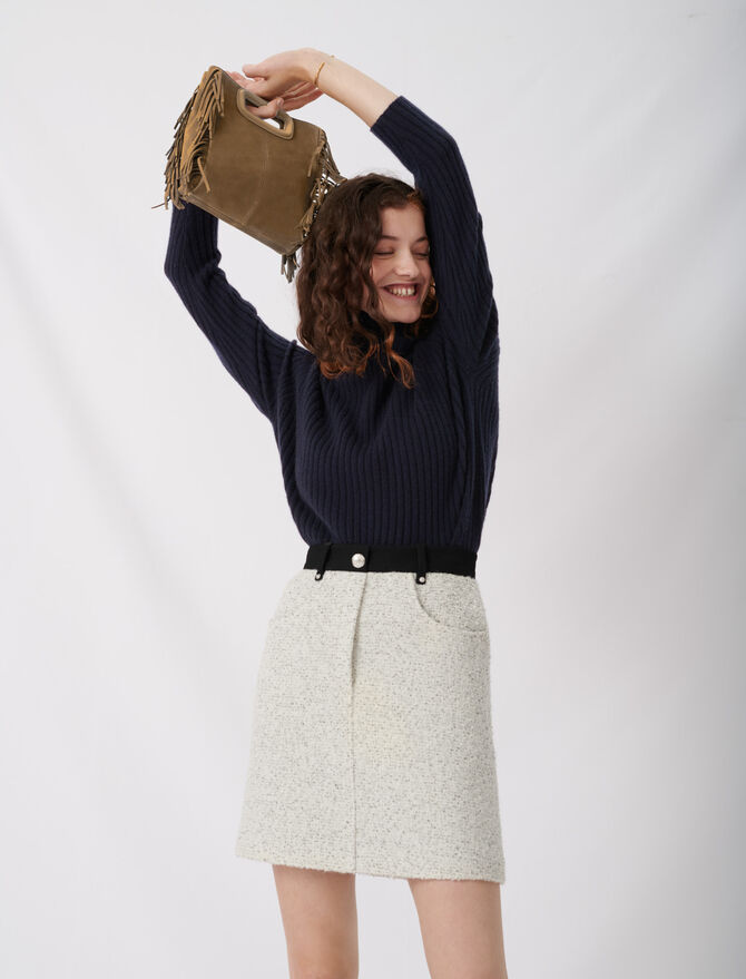 Tweed-style skirt with contrast details - Skirts & Shorts - MAJE