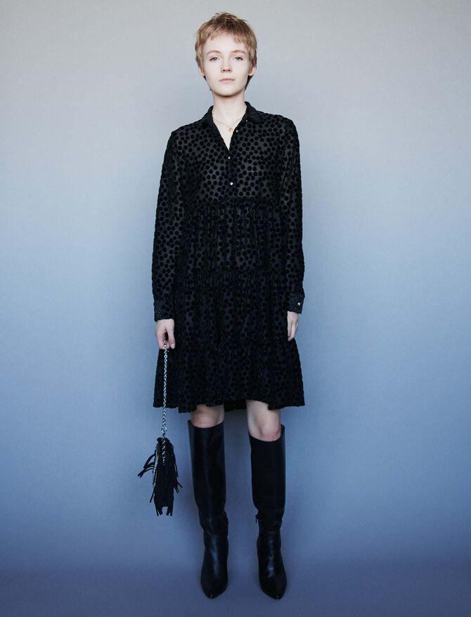 Devore velvet babydoll-style dress -  - MAJE