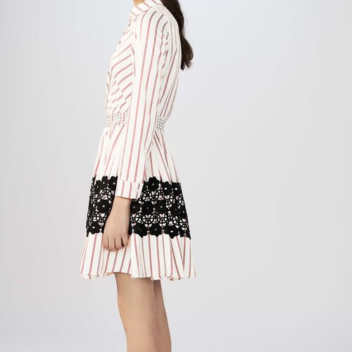 Striped shirt dress with guipure lace : Dresses color Stripe