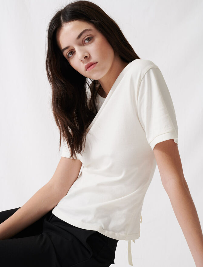 Ecru T-shirt with lacing at the back -  - MAJE