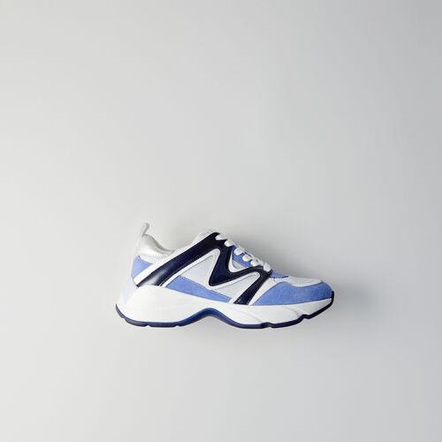 Sneakers W22 en mix matières : Chaussures_Sneakers couleur BLEU