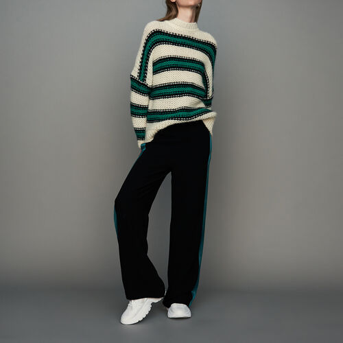 Oversize sweater in tricolor knit : Knitwear color Purple