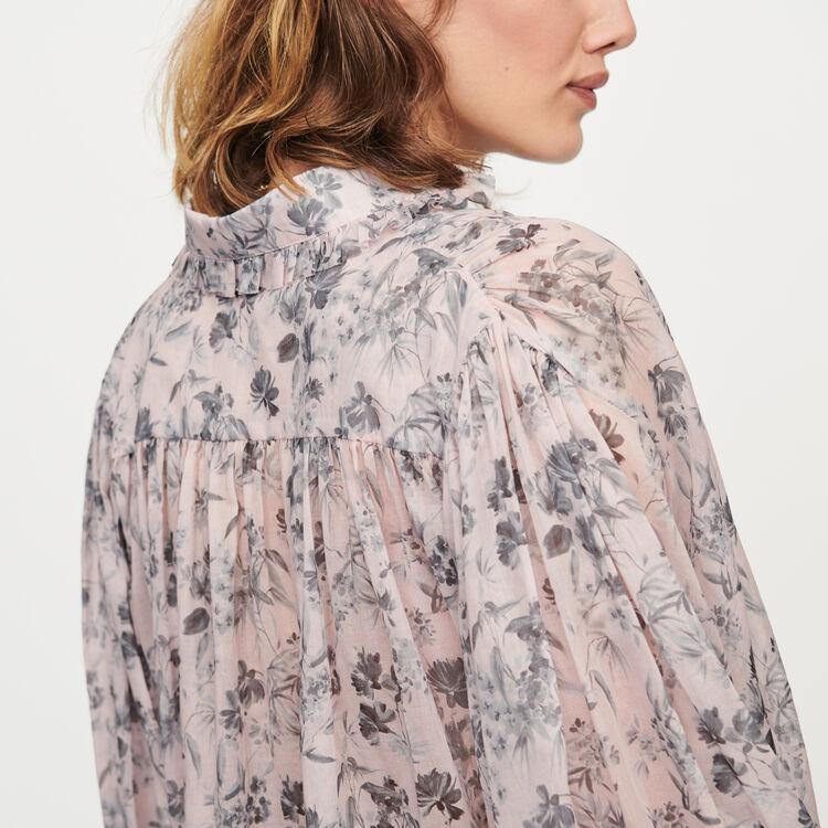 Printed- cotton voile shirt : Tops & Shirts color Purple