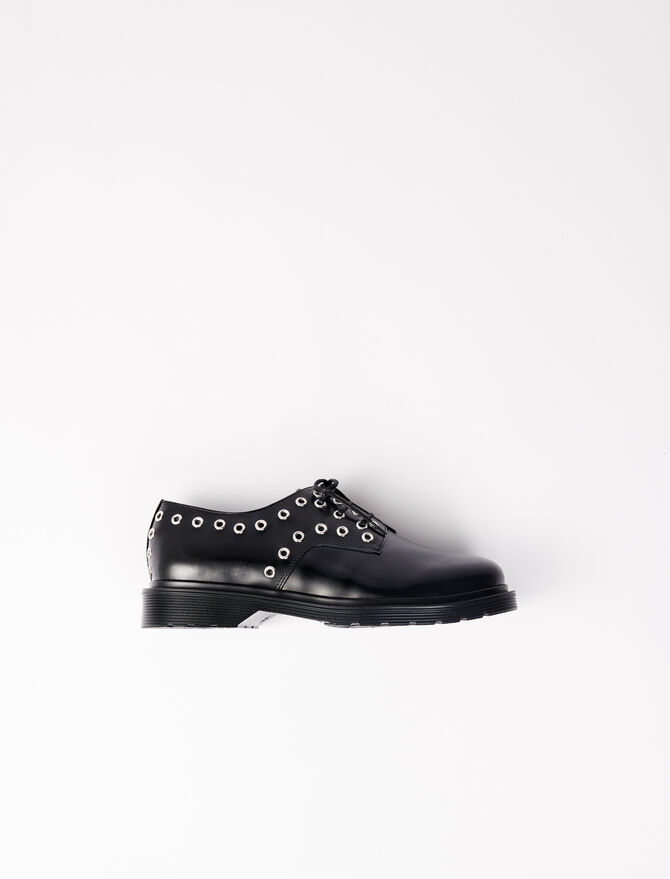 Smooth leather derbies with eyelets -  - MAJE