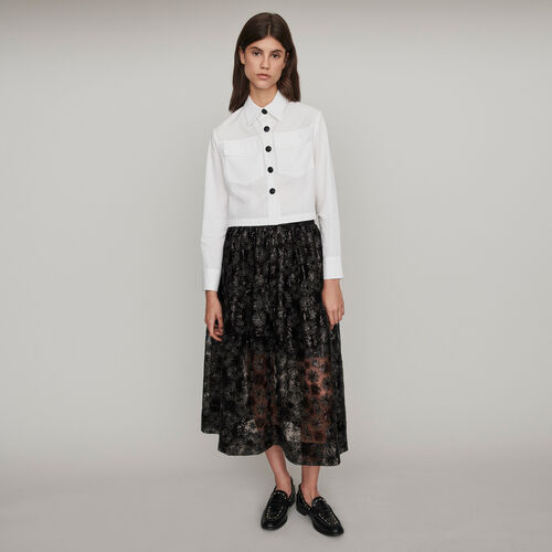 Poplin shirt with contrast buttons : Winter collection color White