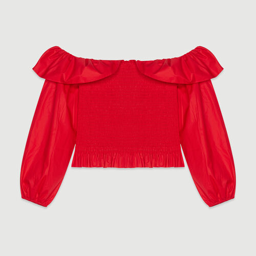 Smocked top with bare shoulders : Tops color Red