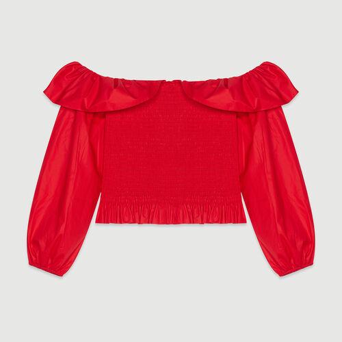 Top smocké à épaules dénudées : Pap_Tops-Chemises couleur ROUGE