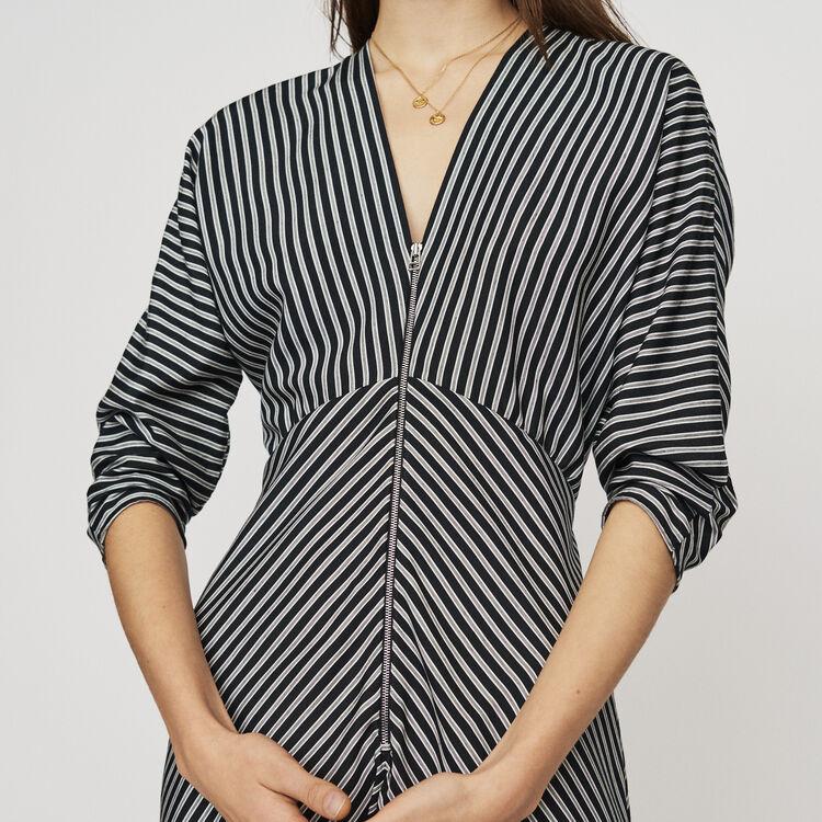 Zipped midi dress with stripes : Dresses color Stripe