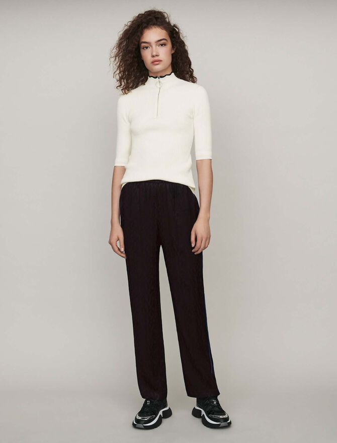 Flowing satin jacquard pants - SoldesBE_ALL - MAJE