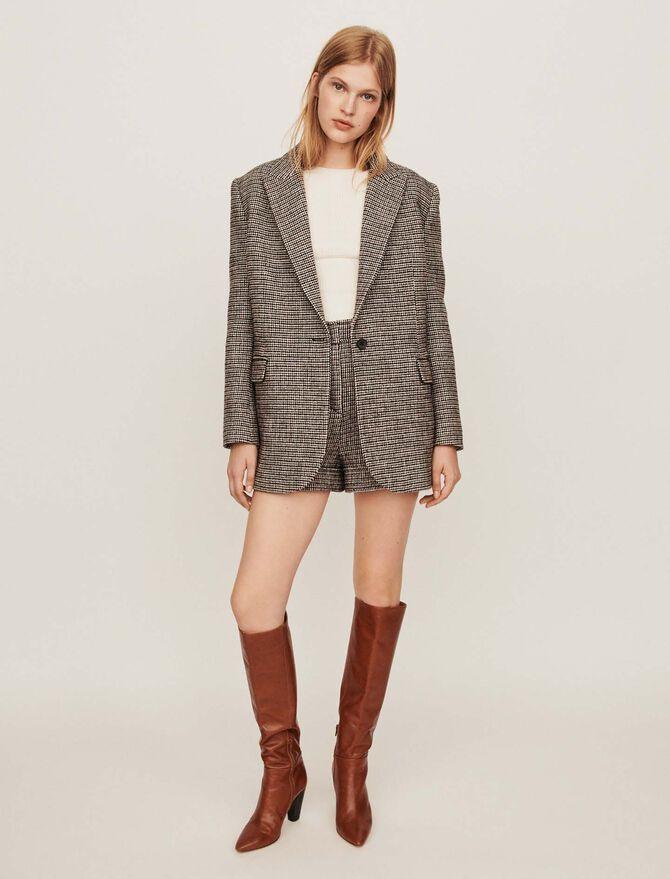 Manteau façon veste à carreaux - null - MAJE