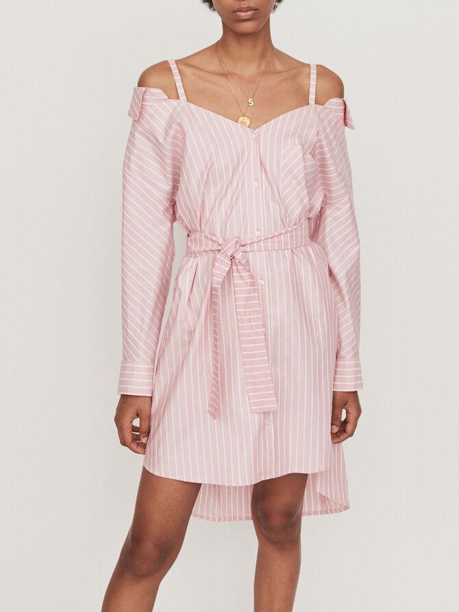 Oversized striped shirt dress - SoldesBE_Robes - MAJE