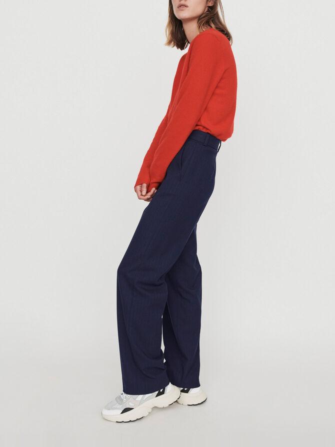 Straight-leg pants with racing stripes - SoldesBE_50 - MAJE