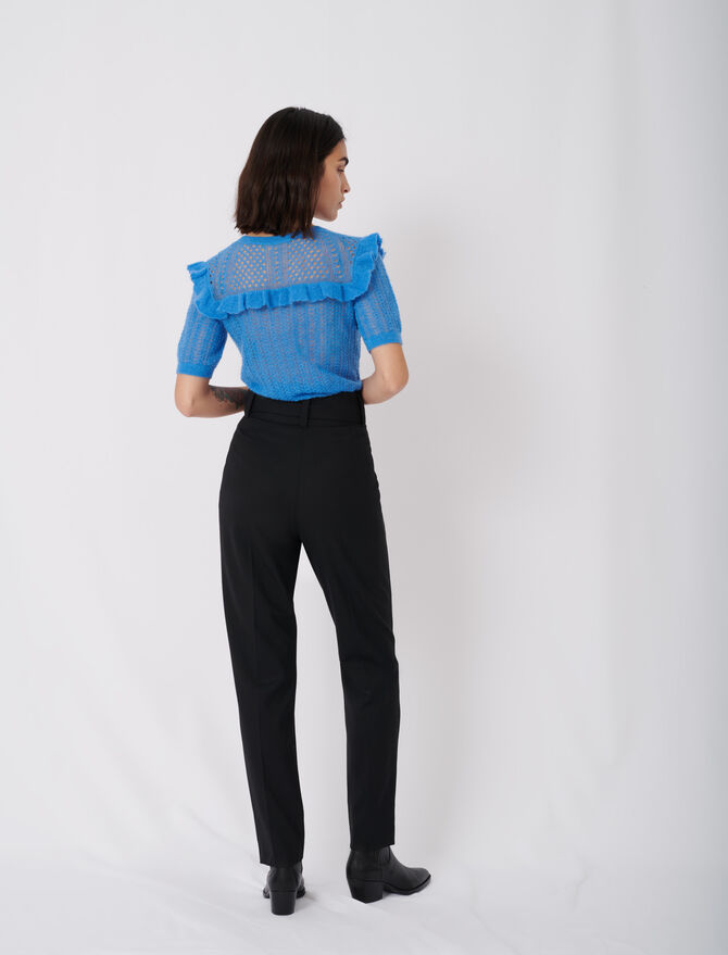 Belted high-waisted trousers - Trousers & Jeans - MAJE