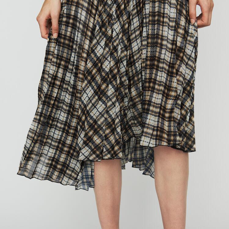 Pleated plaid asymmetric skirt : Skirts & Shorts color CARREAUX