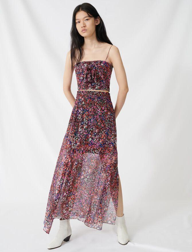 Silk skirt with floral motif -  - MAJE