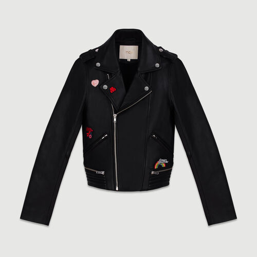 Leather jacket with patches : Jackets color Black 210