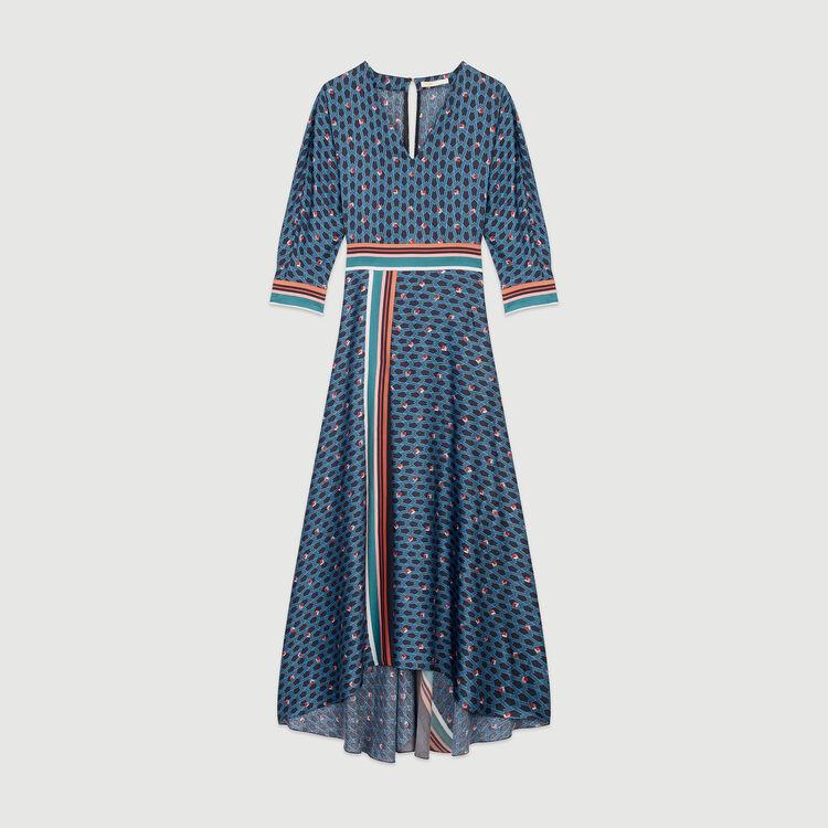 Long dress with monogram print : Dresses color PRINTED