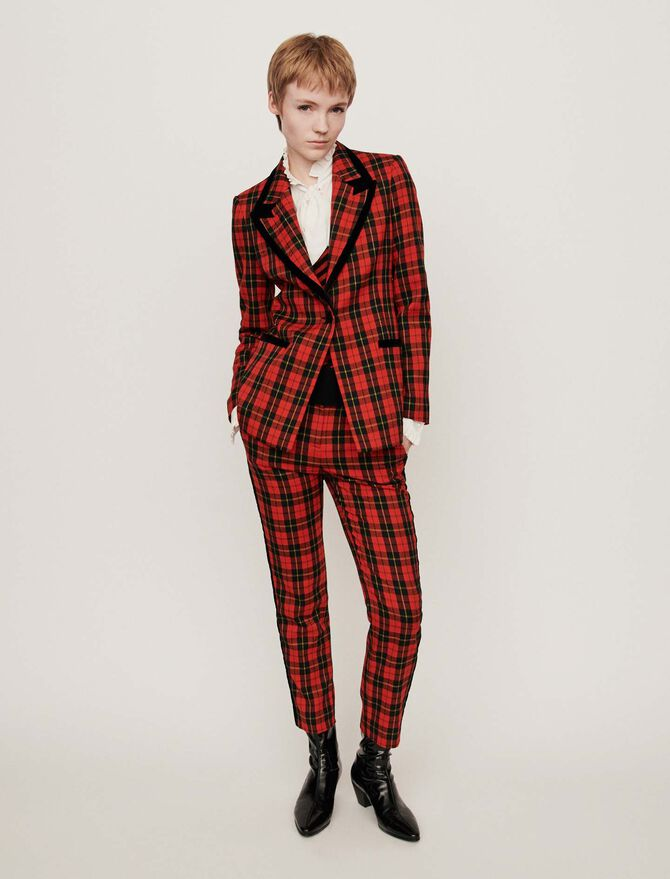 Velvet piped plaid jacket - SoldesFR_ALL - MAJE