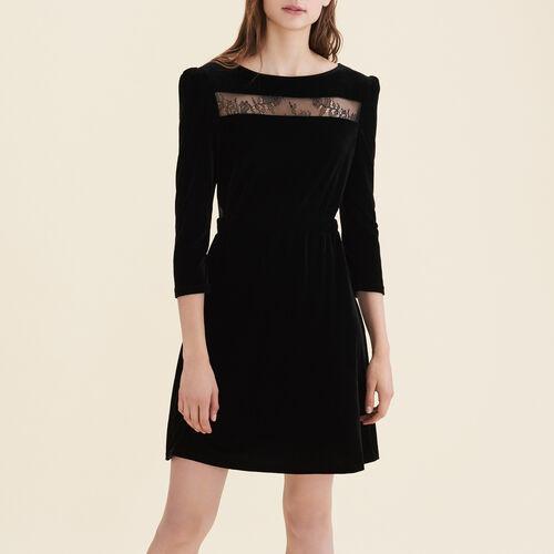 Velvet and lace dress : Dresses color Black 210