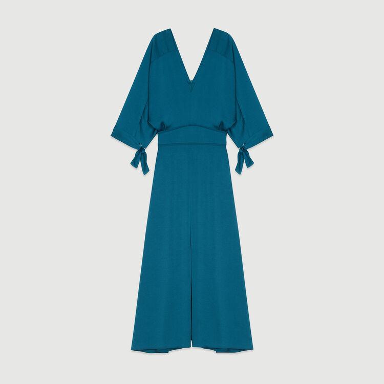Long neckline dress : Dresses color Blue