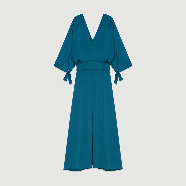 Long neckline dress : Dresses color Blue