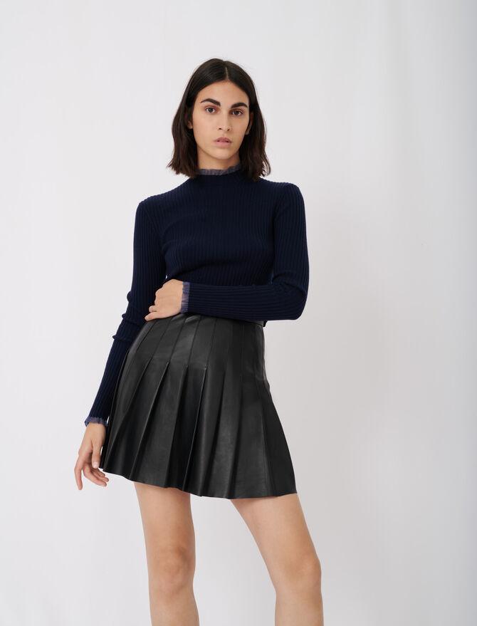 Pleated leather skirt -  - MAJE