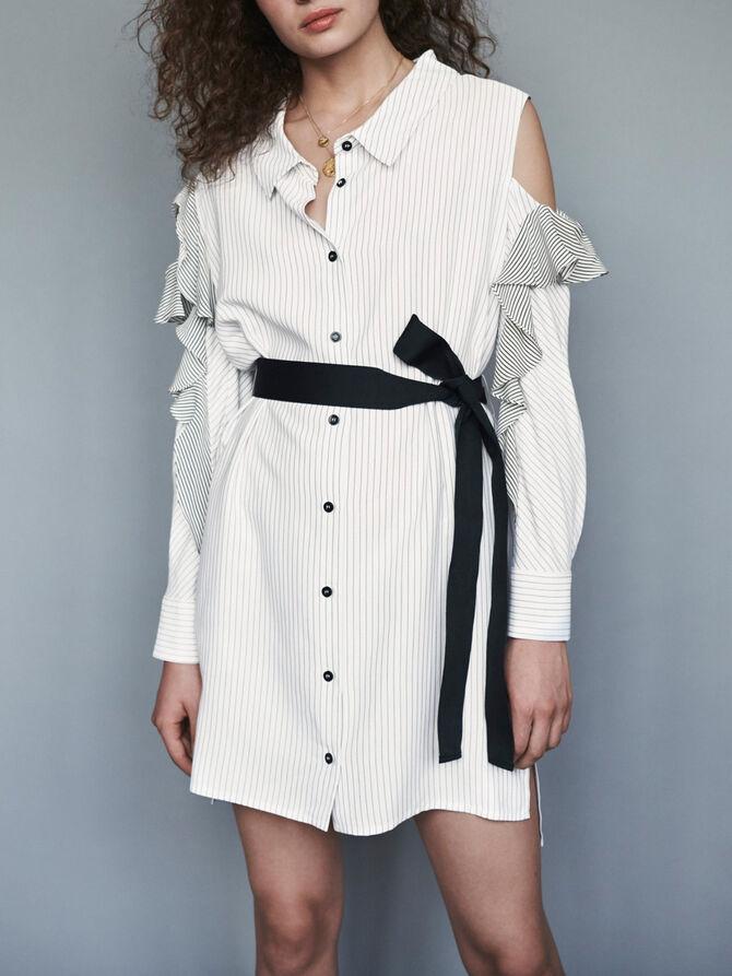 Striped ruffled shirt dress - SoldesFR_ALL - MAJE