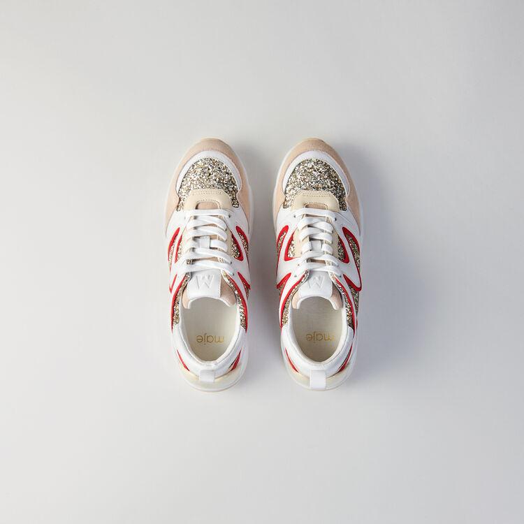 WW22 glitter sneakers : Sneakers color Silver