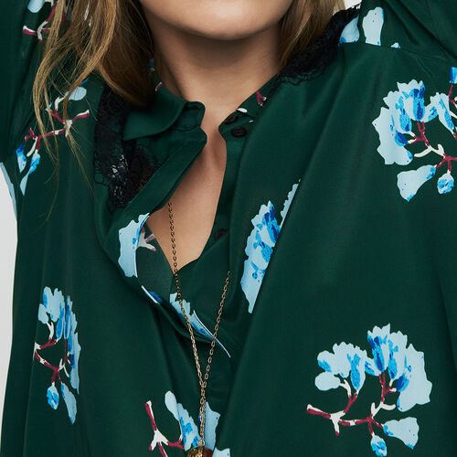 Printed blouse with lace : Shirts color Print