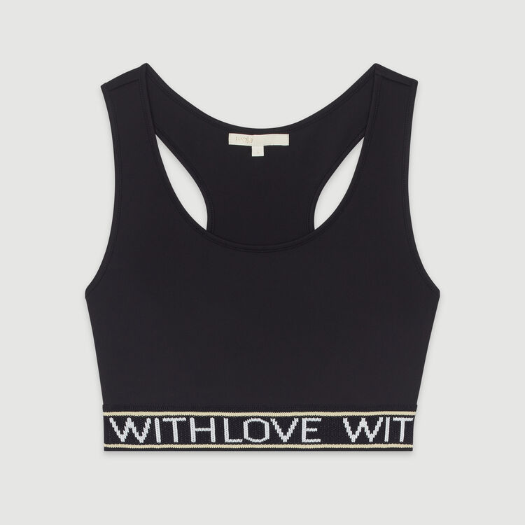 Sports bra with slogan band : T-Shirts color Black 210