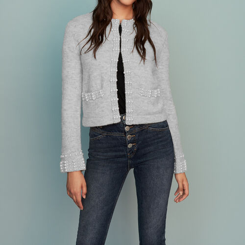 Wool-blend cardigan with pearls : Knitwear color Grey