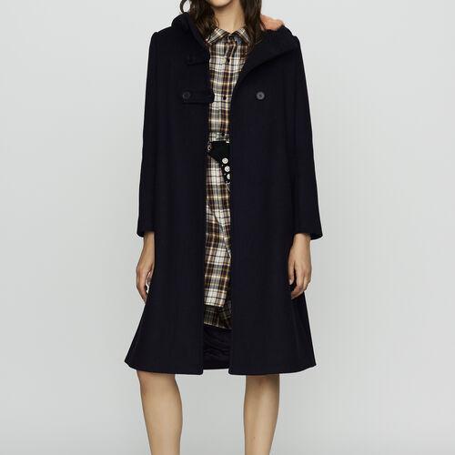 Long coat with faux-fur lined hood : Coats color Black 210