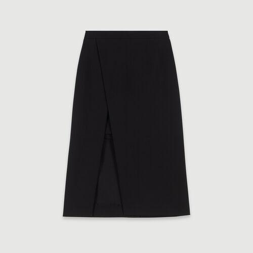 Jupe midi droite et fendue : Pap_Jupes-Shorts couleur Noir