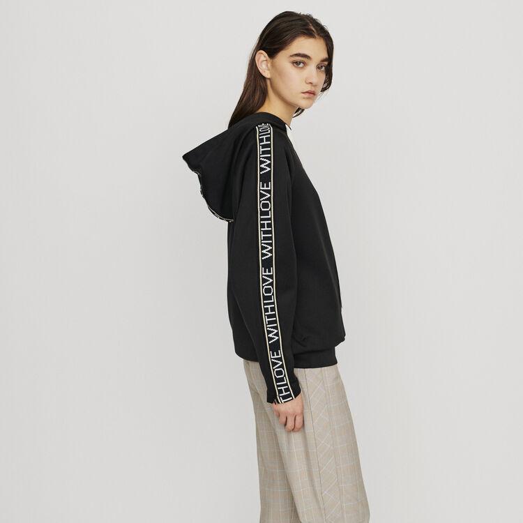 Hooded sweat-shirt withslogan band : Sweatshirts color Black 210
