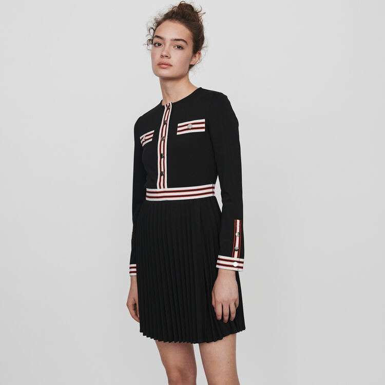 Pleated dress with contrasting stripes : Dresses color Black