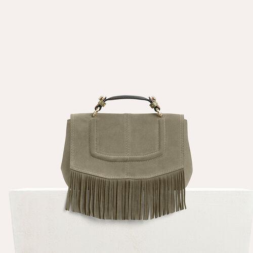 Mini satchel in suede with fringe : LDance bags color Khaki