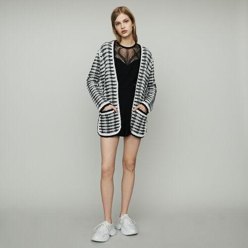 Cardigan-veste long en maille : Pap_Pulls-Cardigans couleur Bicolore