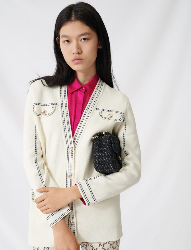 Cardigan with contrasting topstitching - Pullovers & Cardigans - MAJE